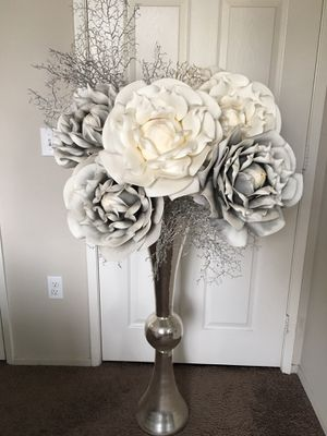 Large Tall Vase and Oversized Faux Flowers for Sale in Riverside, CA