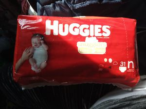 31 Huggies newborn plus about 20 more and wipes for Sale in Marysville, WA