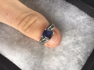 Size 8 Beautiful Sterling silver 925 Blue sapphire and diamond accents Ring for Sale in Stoneville, NC
