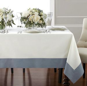 New 70x120 border linen dining room tablecloth cream and for Sale in Henderson, NV