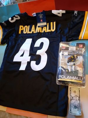 All for $40 size 48 troy polamalu steelers jersey and action figure both new for Sale in Tacoma, WA