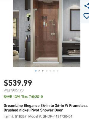 DreamLine Elegance 34-in to 36-in W Frameless Brushed nickel Pivot Shower Door for Sale in San Antonio, TX