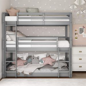 Grey Wood Triple Bunk Bed for Sale in Dallas, TX