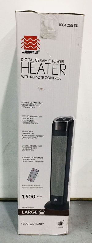 Warmwave Digital Ceramic Tower Heater Calefactor with Remote Control 1500 Watts 1004255101 for Sale in Miami, FL