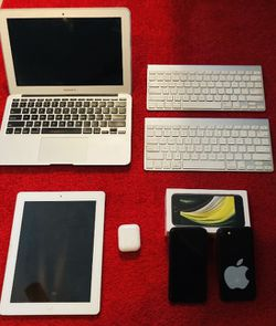 Apple MacBook Air-2012, 2-Unlocked New IPhone 7's, 1-set of AirPods used less than 3 months, 2 Bluetooth Apple keyboards, and one older generation ap for Sale in San Marcos,  TX