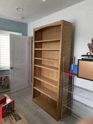 "Solid oak bookcase, 82"" tall, 42"" wide. Very good condition. Includes 6 shelves. $100. Over $400 new. Great for books or other types of storage. for Sale in El Segundo, CA"