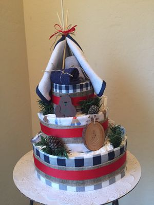 """HAPPY CAMPER"" Custom Diaper Cake for Sale in Gilbert, AZ"