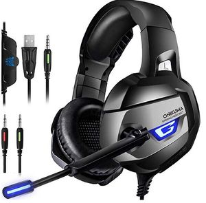 PS4 Gaming Headset - ONIKUMA Gaming Headset with 7.1 Surround Sound, Xbox One Headset with Noise Canceling Mic LED Light, Over-Ear Headphones for Sale in Rancho Cucamonga, CA