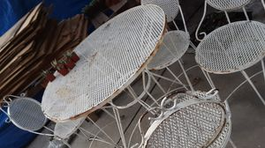 IRON GARDEN TABLE AND 4 CHAIRS SALE AS IT'S for Sale in Whittier, CA