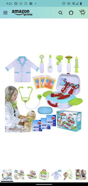 Kids Play Doctor Kit 20 Pieces Pretend-n-Play Medical Toys Set with Roleplay Doctor Costume and Carry Case for Little Girls Boys Age 3+ for Sale in Fairfax, VA