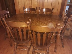 Dining room table with leaf and 6 chairs and lighted hutch for Sale in Eden, NC