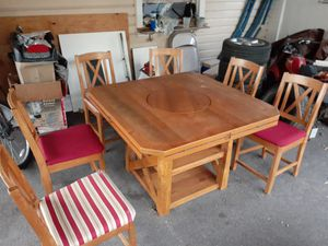Kitchen table with lazy Susan and 6 chairs for Sale in Croydon, PA
