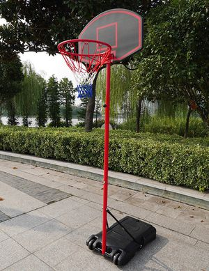 """New in box $50 Junior Kids Sports Basketball Hoop 27""""x18"""" Backboard, 5ft-7ft Adjustable Stand w/ Wheel for Sale in Downey, CA"""