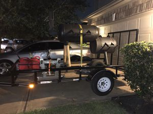 Trailer , offset smoker pit , and engine hoist for Sale in Houston, TX