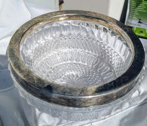 Vintage Pressed Glass Bowl Silver Rimmed Candy or Nut Bowl for Sale in Oakland, CA
