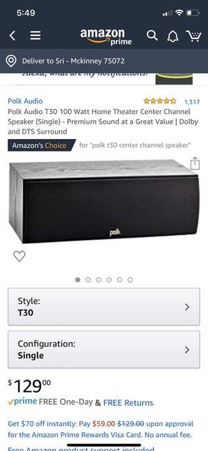 Polk Audio T30 100 Watt Home Theater Center Channel Speaker (Single) for Sale in Frisco, TX