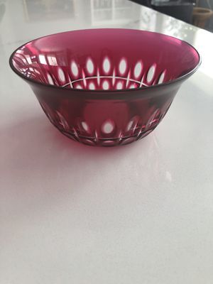 Beautiful Cranberry Crystal Bowl for Sale in Plano, TX