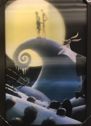 Nightmare Before Christmas Jack Skellington HALLOWEENTown Halloween Christmas Zero 3D holographic picture poster framed size 10 X 20 for Sale in Atlanta, GA