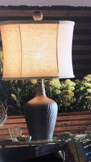 OUTDOOR RATED TABLE LAMPS WITH FABRIC SHADE $35 EACH or $50 BOTH ** bronze table lamp is the perfect addition to any home decor. ** It features a for Sale in Largo, FL