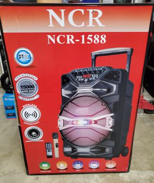 """New 15"""" subwoofer 15000 super bass rechargeable, bluetooth, usb, sd, fm, wireless microphone, remote control and stand for Sale in Riverside, CA"""