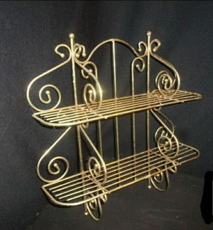Set of retro brass 2 tier Wall shelves ornate for Sale in Tacoma, WA