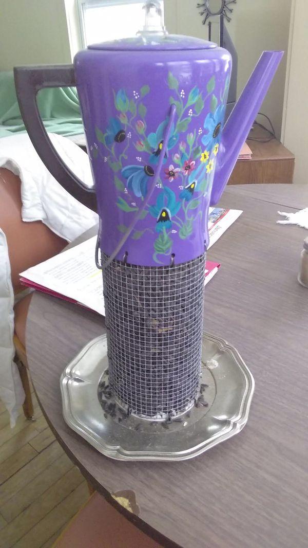 Hand crafted hanging bird feeder