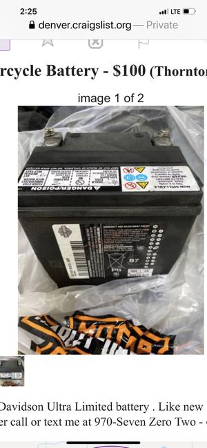 Harley Davidson Battery Ultra Limited for Sale in Thornton, CO