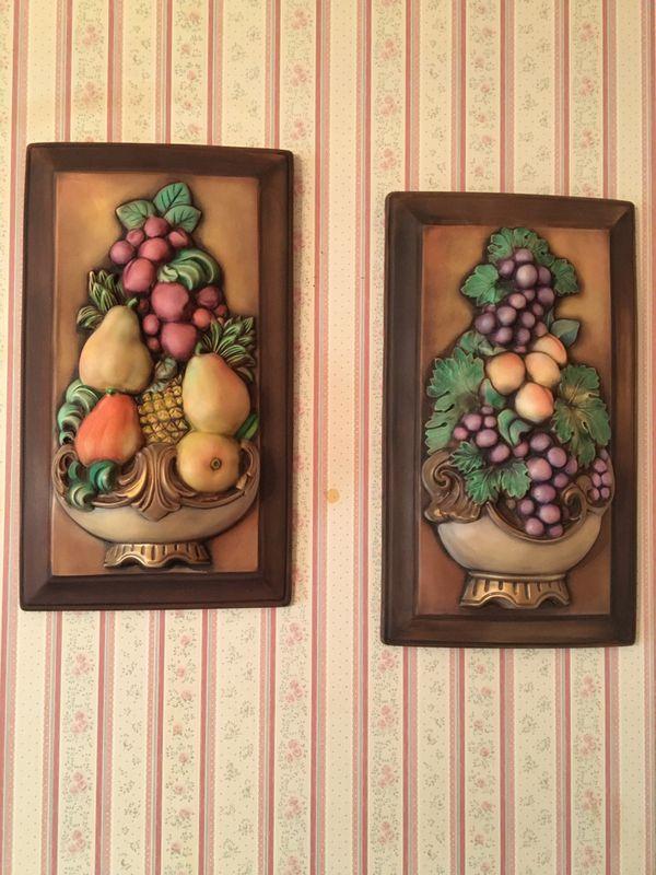 Vintage Ceramic Fruit Topiary Plaques
