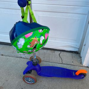 Original 3 Wheel Lean-to-steer Micro Kickboard With Helmet $60 for Sale in Inglewood, CA