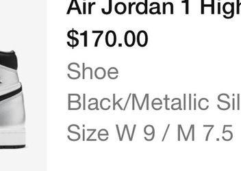 Jordan 1 Retro High Silver Toe (W) for Sale in Bloomington,  IL