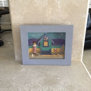 """(30% off pick up) NAUTICAL 13.5"""" x 11"""" x 2"""" Wood SHADOWBOX Lighthouse+Sand BEACH+OCEAN Wall DECOR for Sale in Las Vegas, NV"""