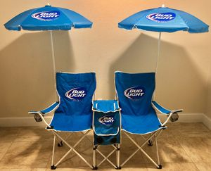 Unique Bud Light Two Chair with Umbrellas, Speakers and Cooler Mobile Beach for Sale in Orlando, FL