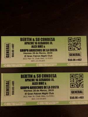 Bertin Gomez tickets for Sale in San Diego, CA