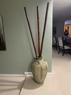 Large Ceramic Pot with Bamboo Poles for Sale in Pembroke Pines, FL