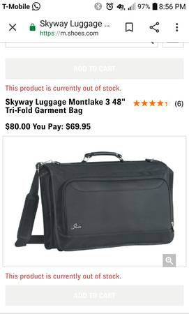 Skyway luggage tri-fold garmet bag Suits for Sale in Gresham, OR