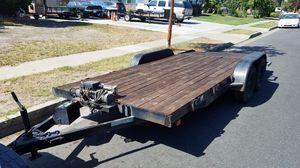 6.5 x 16 FOOT FLAT BED TRAILER CAR HAULER DOVE TAIL UTILITY TRAILER $3900 OBO!! for Sale in Stanton, CA
