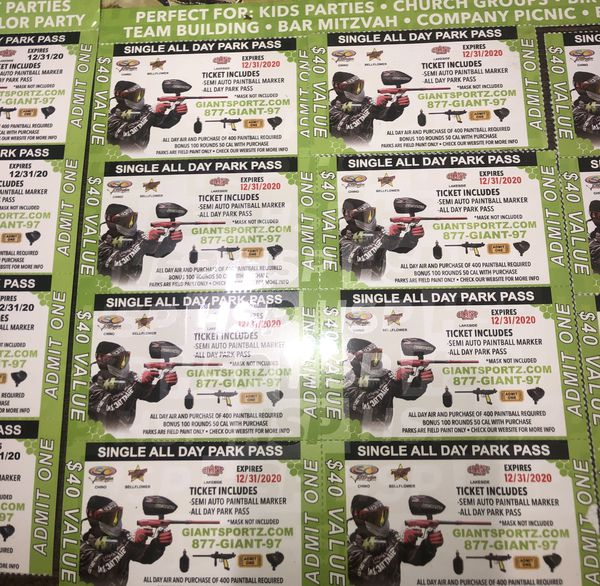 Paintball shooting tickets