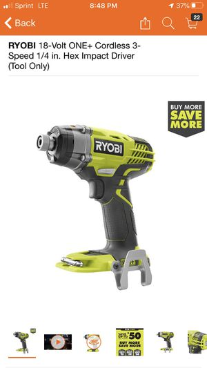 RYOBI 18-Volt ONE+ Cordless 3-Speed 1/4 in. Hex Impact Driver (Tool Only) for Sale in Pomona, CA