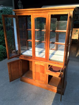 Mission Style Oak China Cabinet for Sale in Forest Ranch, CA