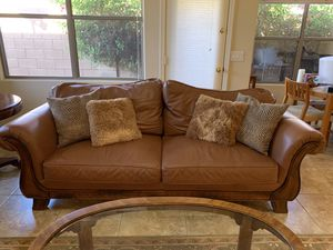 Leather couch and love seat. Custom made. Moving and need to sell. for Sale in Phoenix, AZ