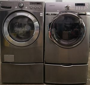 LG Steam washer and Samsung dryer front load whit pedestals for Sale in Gallatin, TN