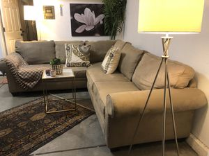 Suede Tan Sectional Couch for Sale in El Dorado Hills, CA