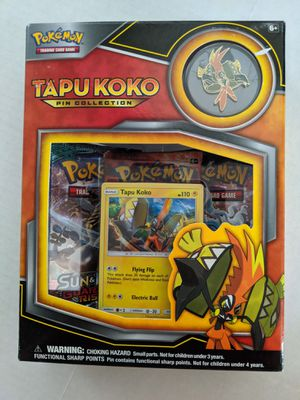 Pokemon TCG Tapu Koko Pin Collection Tin Collectible Cards Game Box for Sale in San Diego, CA