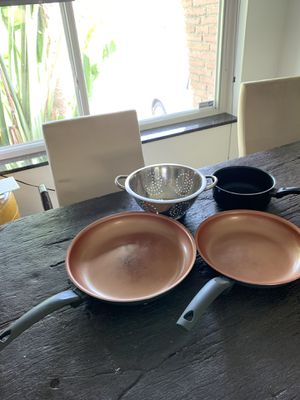 IKO Eco-Friendly Healthy Cooking Copper Colored Pans two sizes PLUS Colander and Pot for Sale in Hollywood, FL