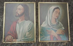 """Vintage Jesus and Mary Paint by Numbers Paintings **20.00 Firm** each is 14"""" x 11"""" for Sale in Orlando, FL"""