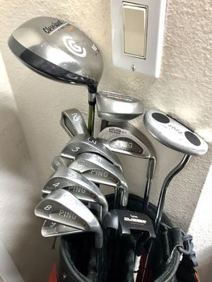 Ping Karsten III Irons with Cleveland Launcher 460 Drivers, Ray Cook Putter and Bag for Sale in Newport Beach, CA