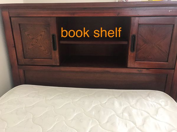 Twin bed with solid wood book case head board and storage+mattress + box spring