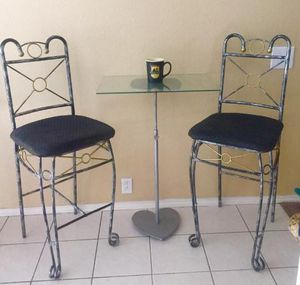 Barstool table set : 2 stools , 1 small adjustable height table no rips or holes see pics for Sale in Murphy, TX