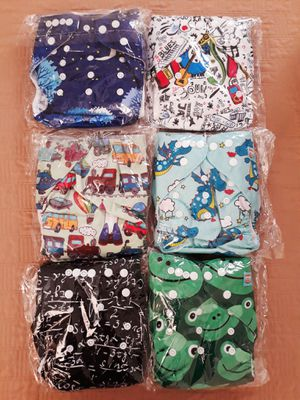 6 brand new sealed alva baby one size fits all cloth diapers with inserts I'm in Fontana for Sale in Fontana, CA
