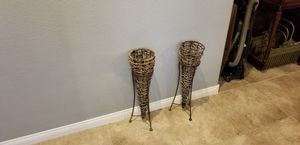 Decorative, Pair of fake plants holders. Metal and wicker for Sale in Las Vegas, NV